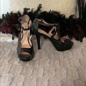Cupid black open toe stilettos